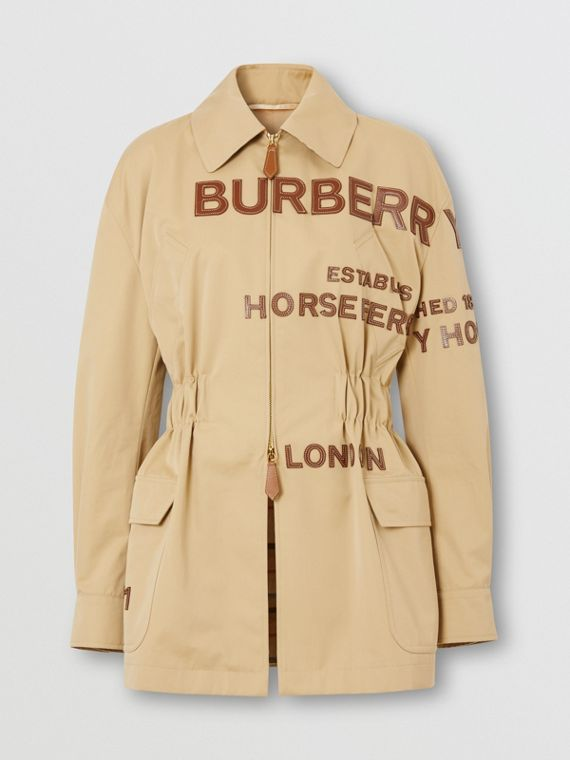 Leather Horseferry Appliqué Cotton Riding Jacket in Honey