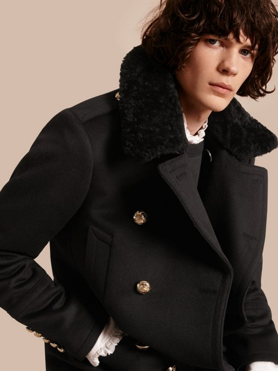 Military Pea Coat with Detachable Shearling Collar