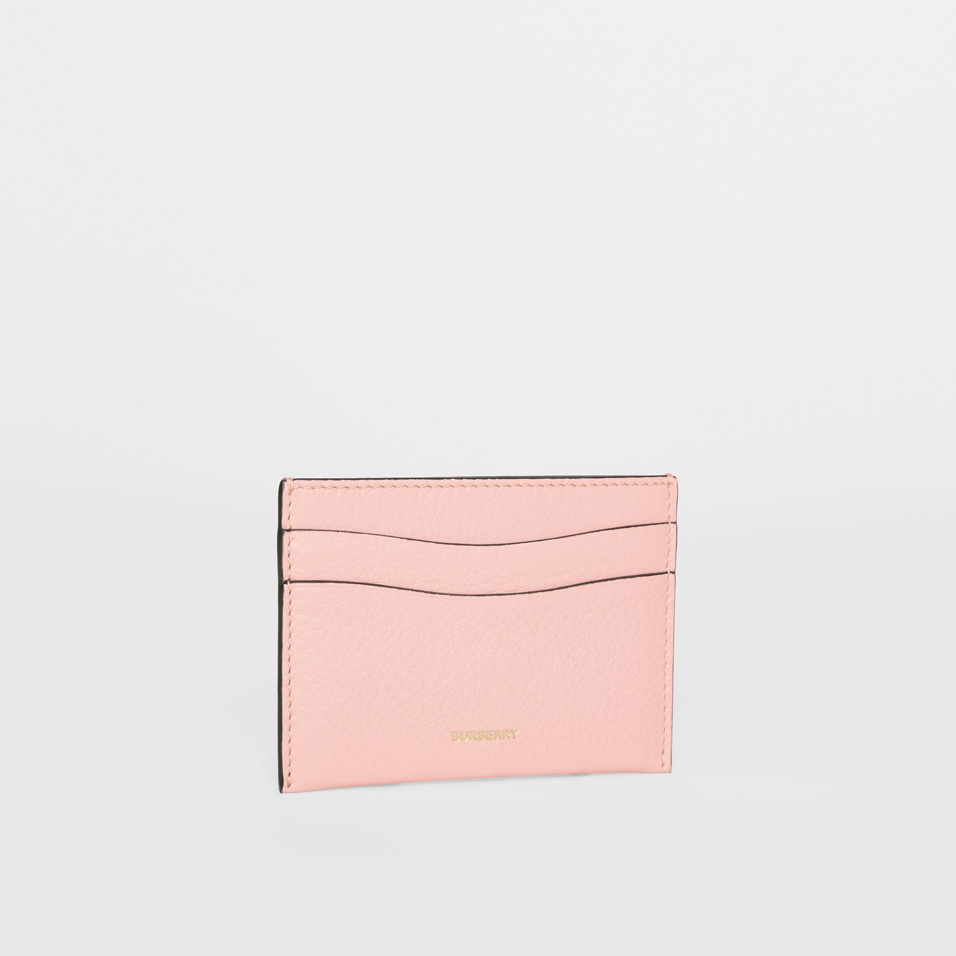 Grainy Leather Card Case in Pale Ash Rose | Burberry Australia - gallery image 3