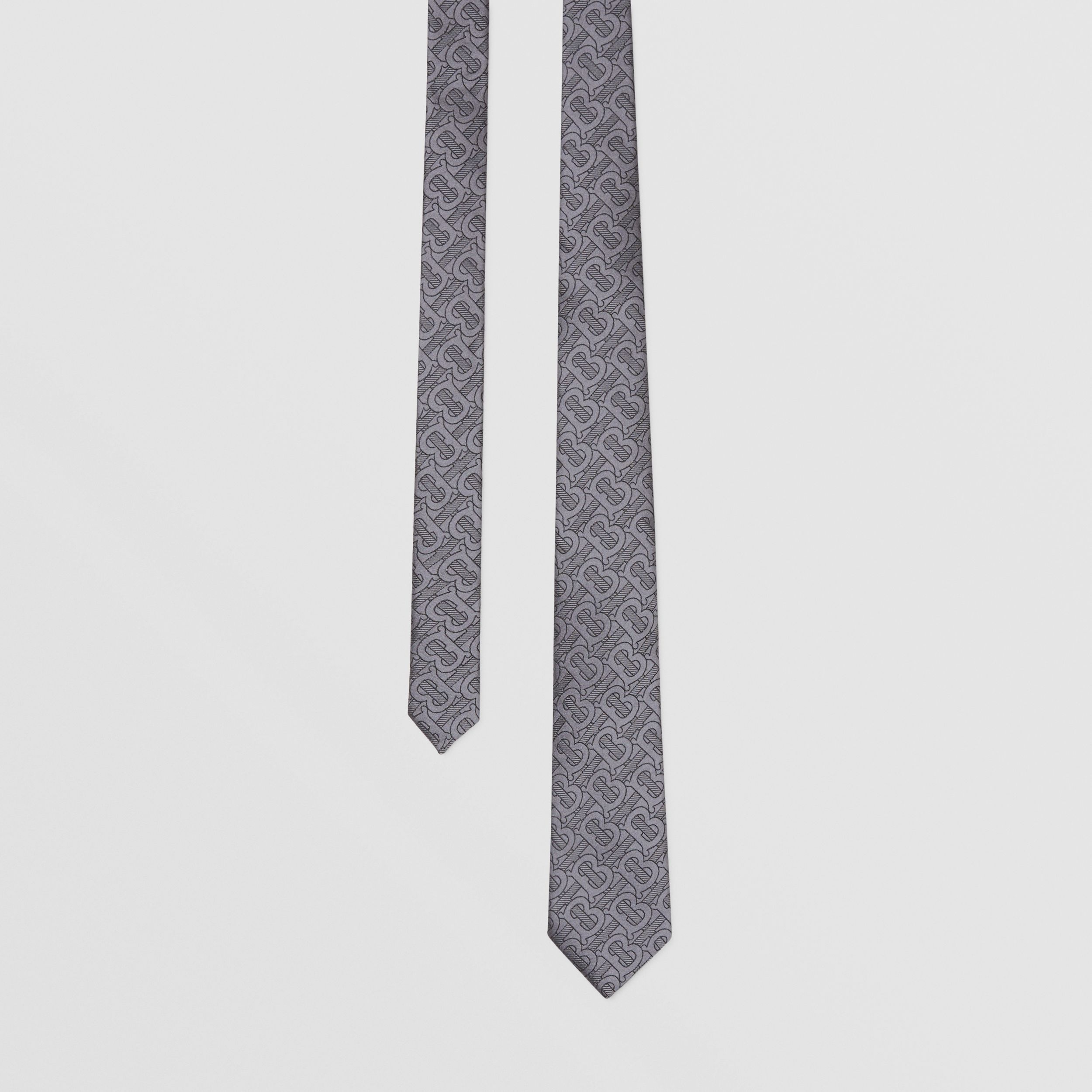 Classic Cut Monogram Silk Blend Jacquard Tie in Charcoal - Men | Burberry - 1