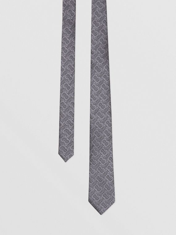 Classic Cut Monogram Silk Blend Jacquard Tie in Charcoal