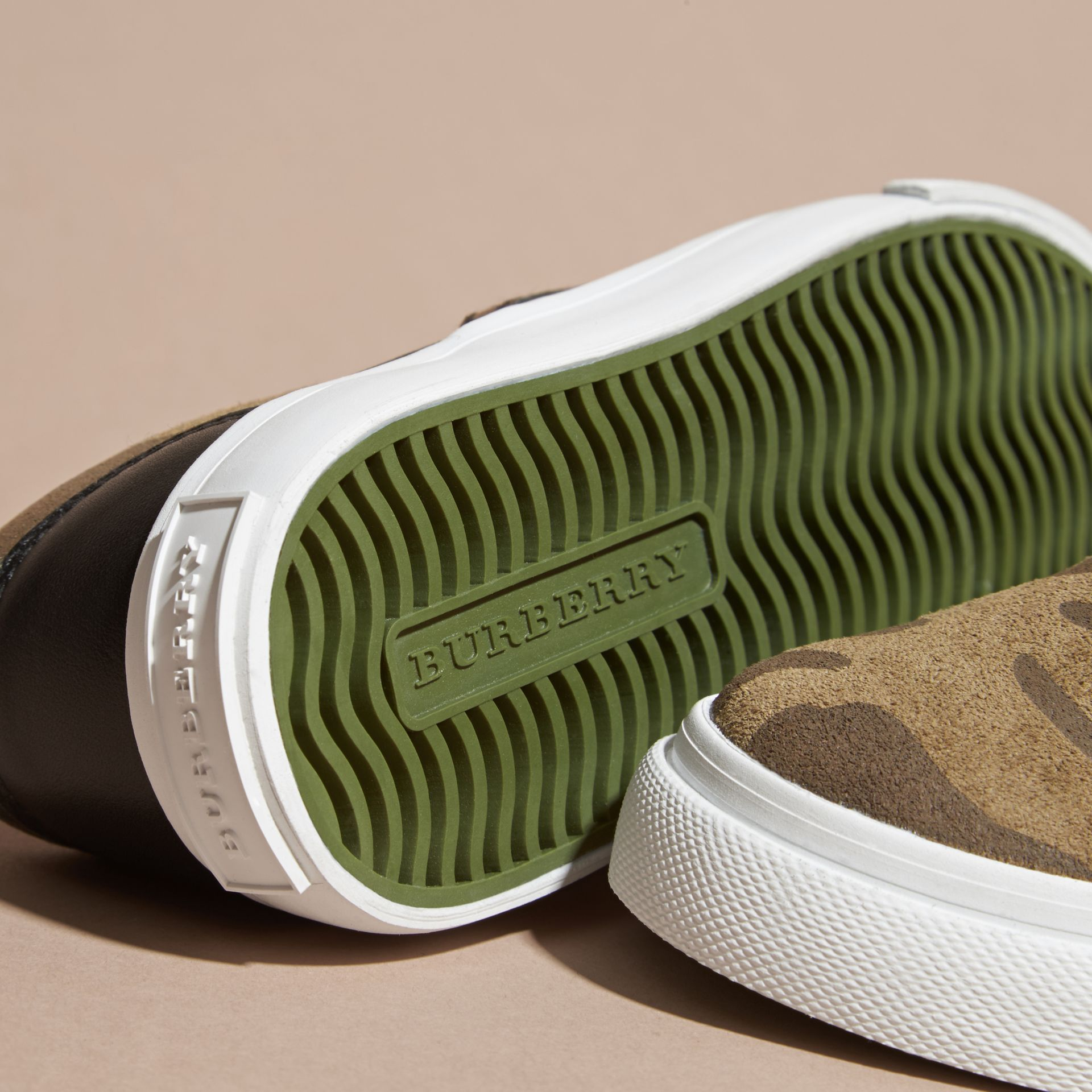 Dark green ochre Camouflage Print Suede Slip-on Trainers - gallery image 2