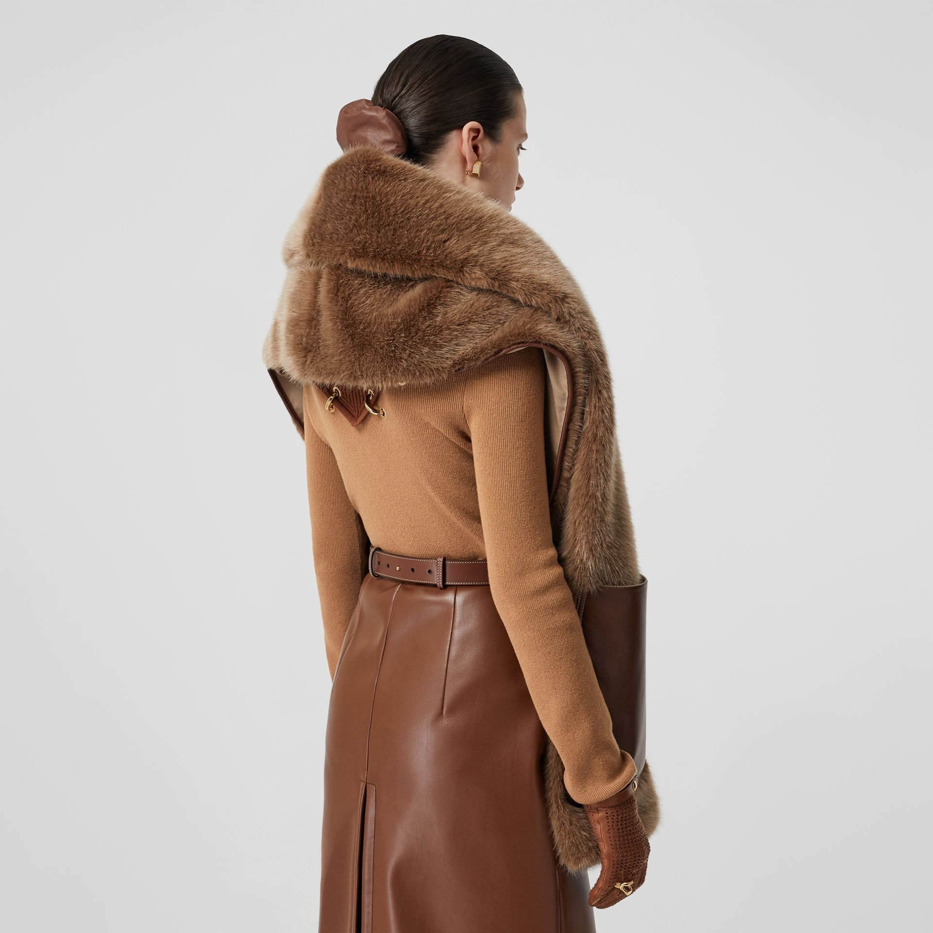 Faux Fur and Cashmere Stole in Camel - Women | Burberry - gallery image 2