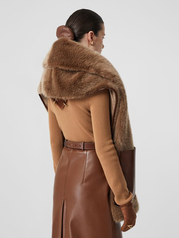 Faux Fur and Cashmere Stole in Camel - Women | Burberry - cell image 2