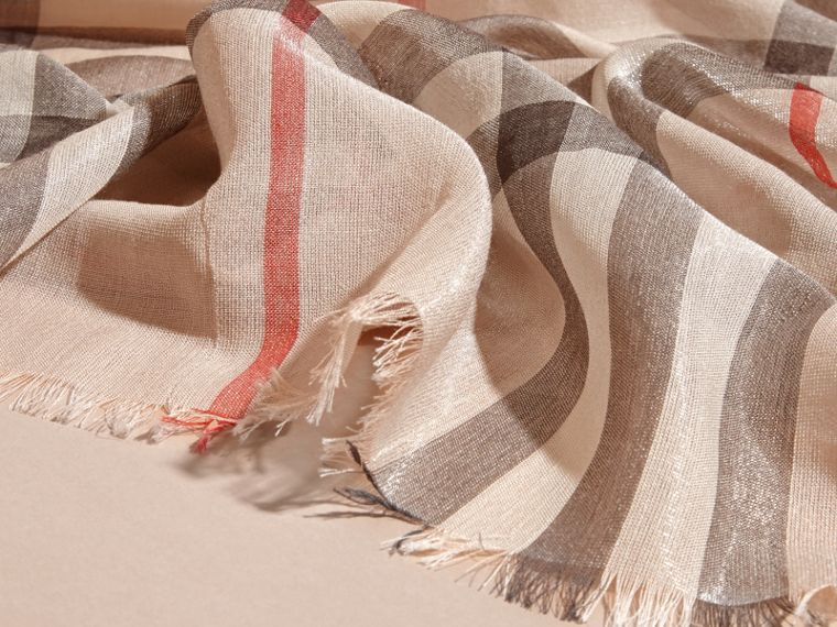 Metallic Check Silk and Wool Scarf in Stone/ Silver - cell image 1
