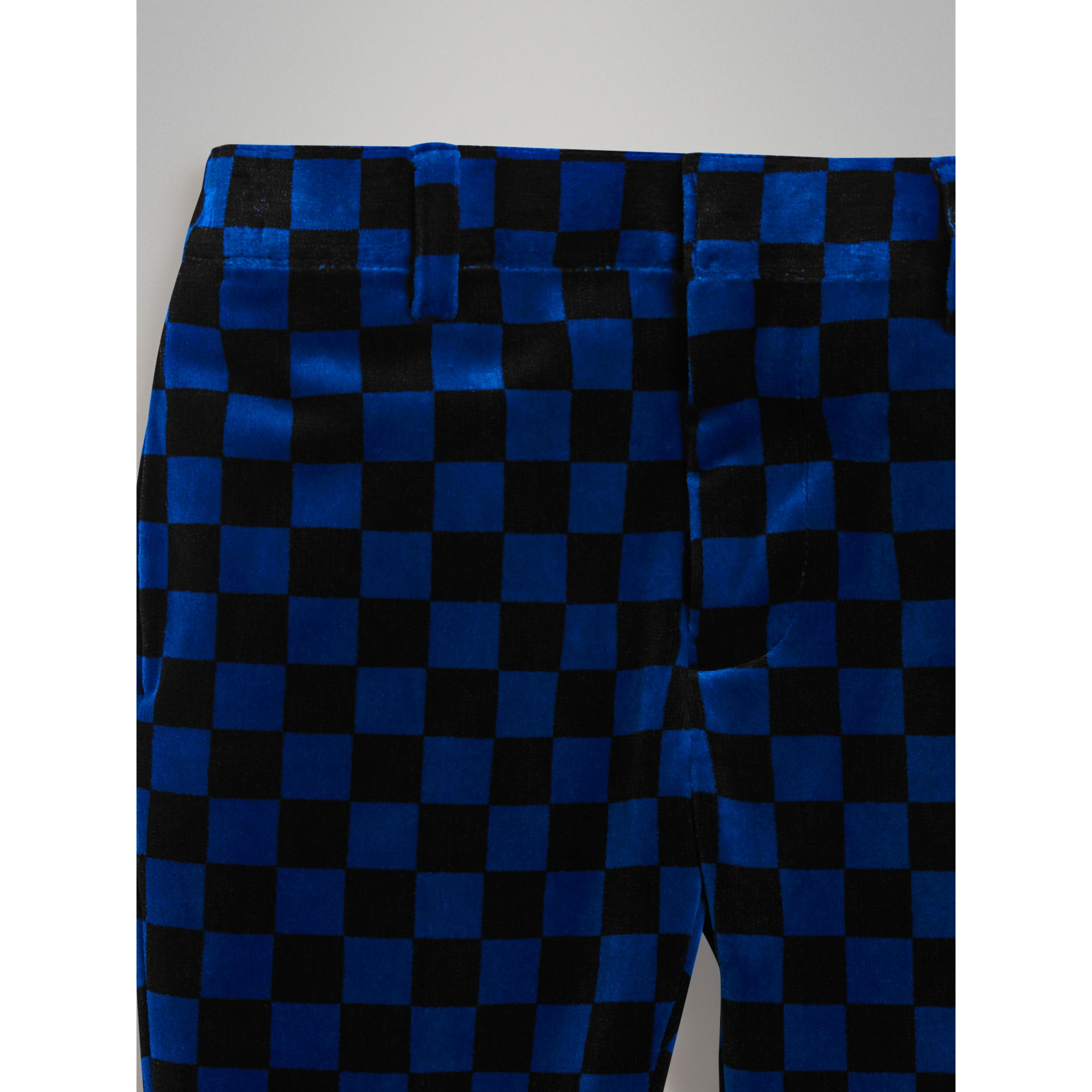 Chequer Stretch Velvet Trousers in Bright Blue | Burberry - gallery image 3