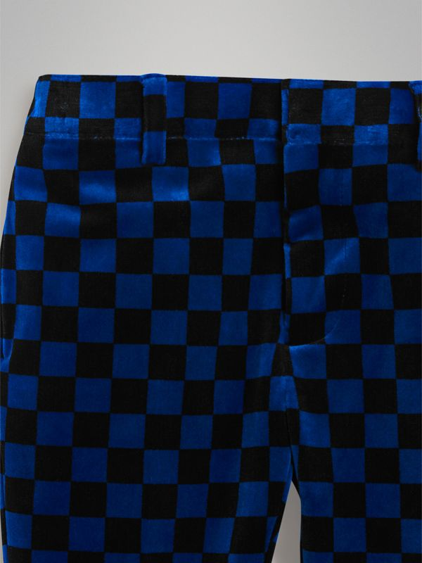 Chequer Stretch Velvet Trousers in Bright Blue | Burberry - cell image 3