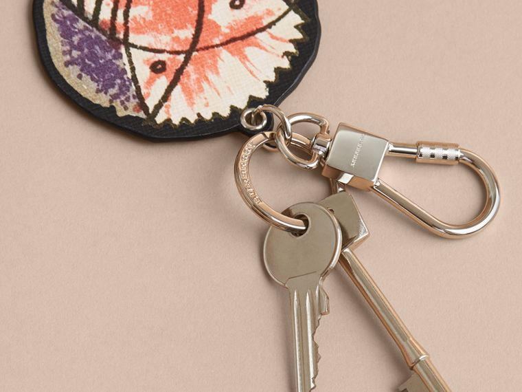 Pallas Heads Print Leather Key Ring in Black - Men | Burberry - cell image 2