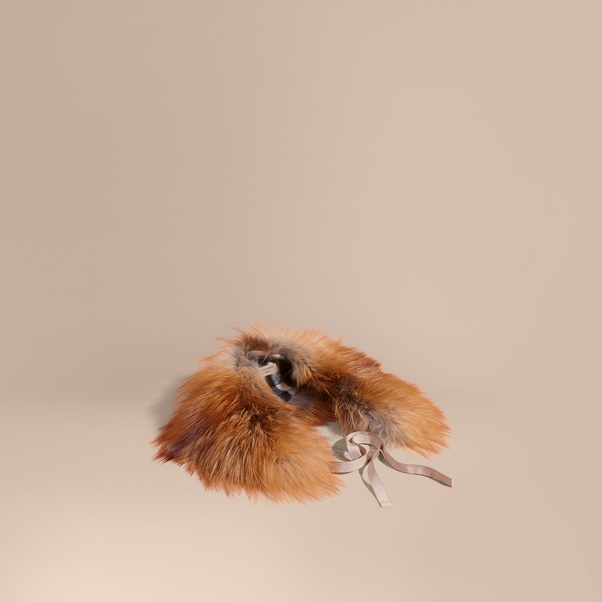 Camel Fox Fur Collar with Check Cashmere Lining Camel - gallery image 1
