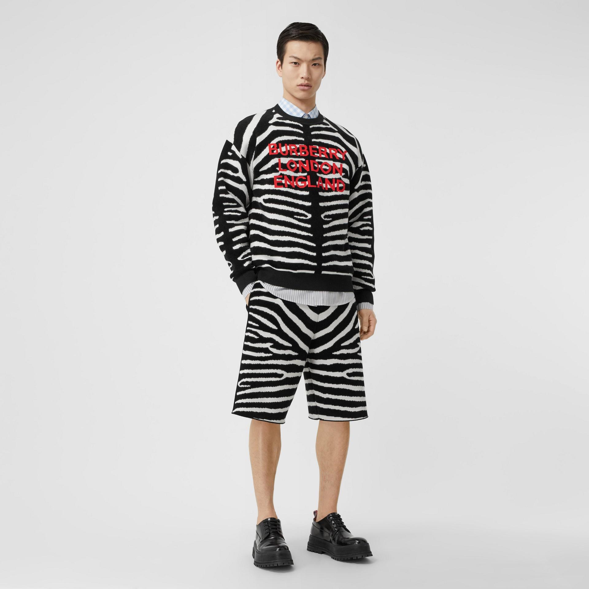 Zebra and Logo Wool Blend Jacquard Sweater in Black | Burberry United Kingdom - gallery image 4