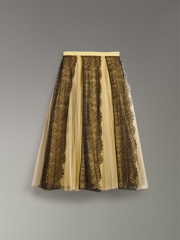 Lace Panel Pleated Tulle Skirt in Yellow - Women | Burberry - cell image 3