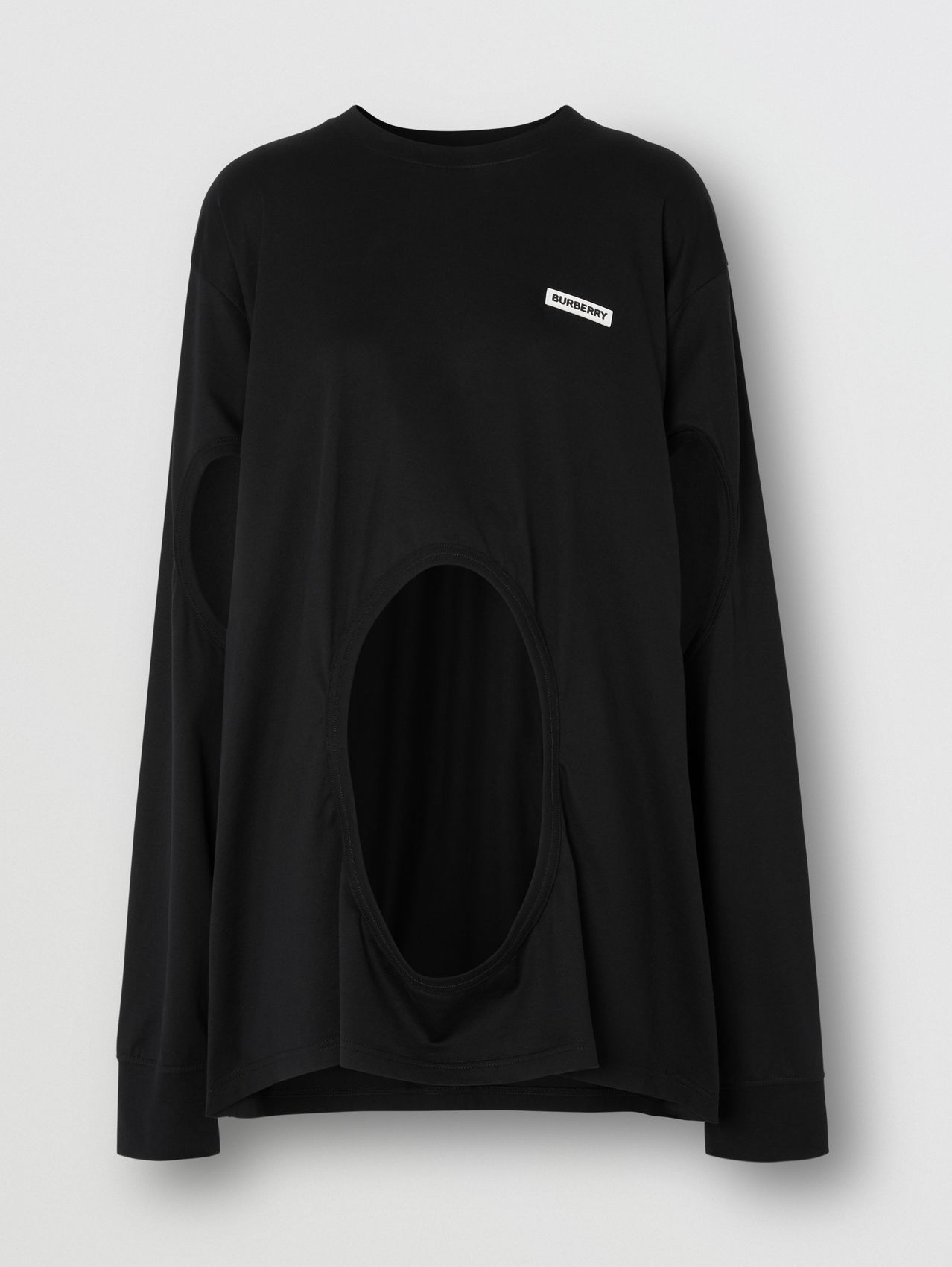 Cut-out Panel Swan Print Cotton Oversized Top in Black