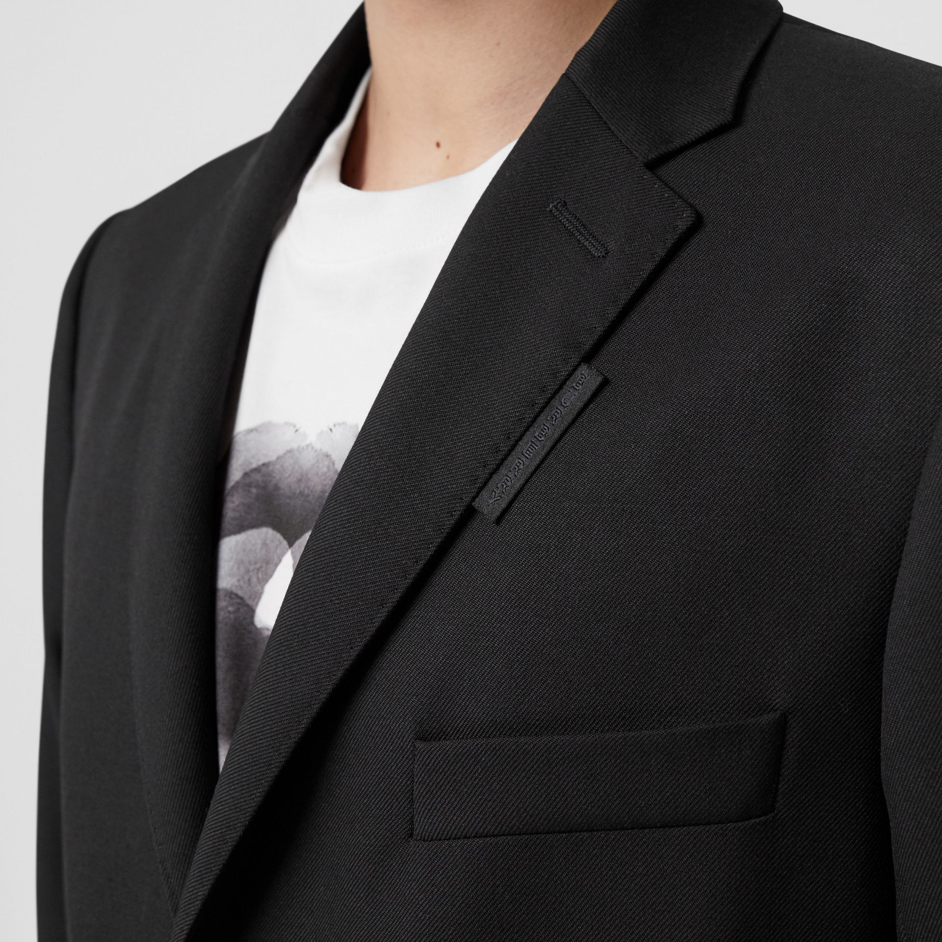 Slim Fit Zip Panel Wool Twill Blazer in Black | Burberry - gallery image 4