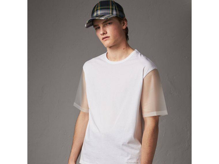 Cotton and Soft-touch Plastic T-shirt in White - Men | Burberry - cell image 4