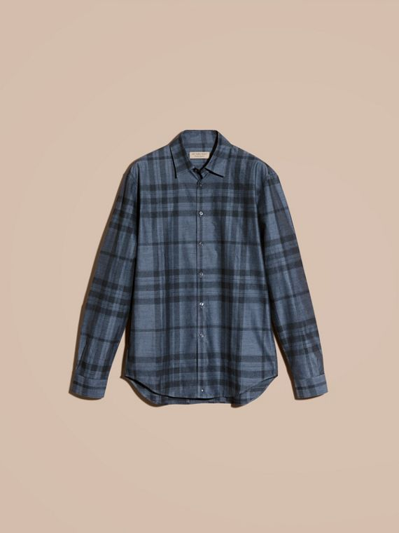 Bright steel blue Check Cotton Flannel Shirt Bright Steel Blue - cell image 3