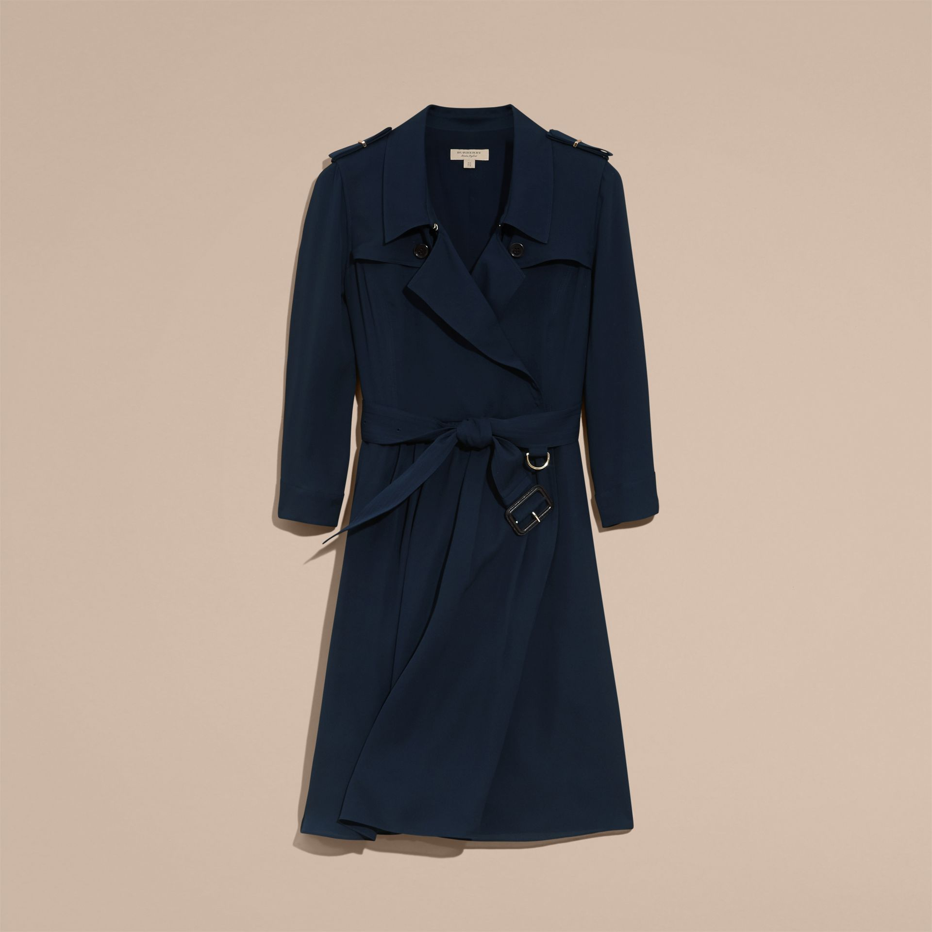 Silk Trench Dress Navy - gallery image 4