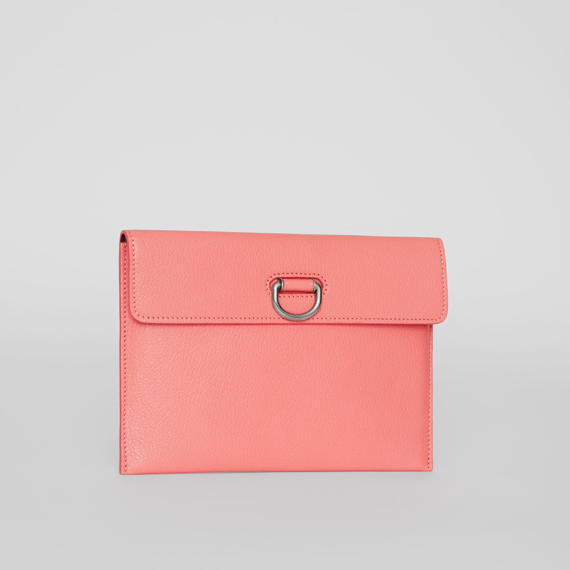 D-ring Leather Pouch with Zip Coin Case in Bright Coral Pink - Women | Burberry - gallery image 7