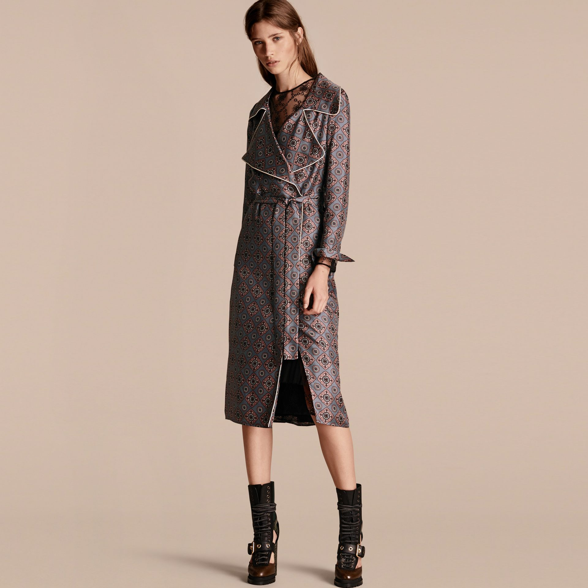 Printed Silk Wrap Trench Dress with Piping - gallery image 1