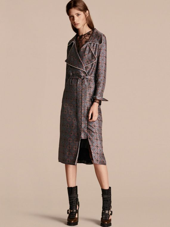 Printed Silk Wrap Trench Dress with Piping