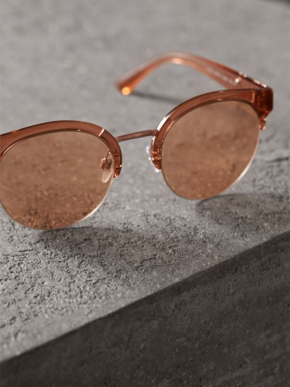 Check Detail Round Half-frame Sunglasses in Sand - Women | Burberry United States - cell image 2