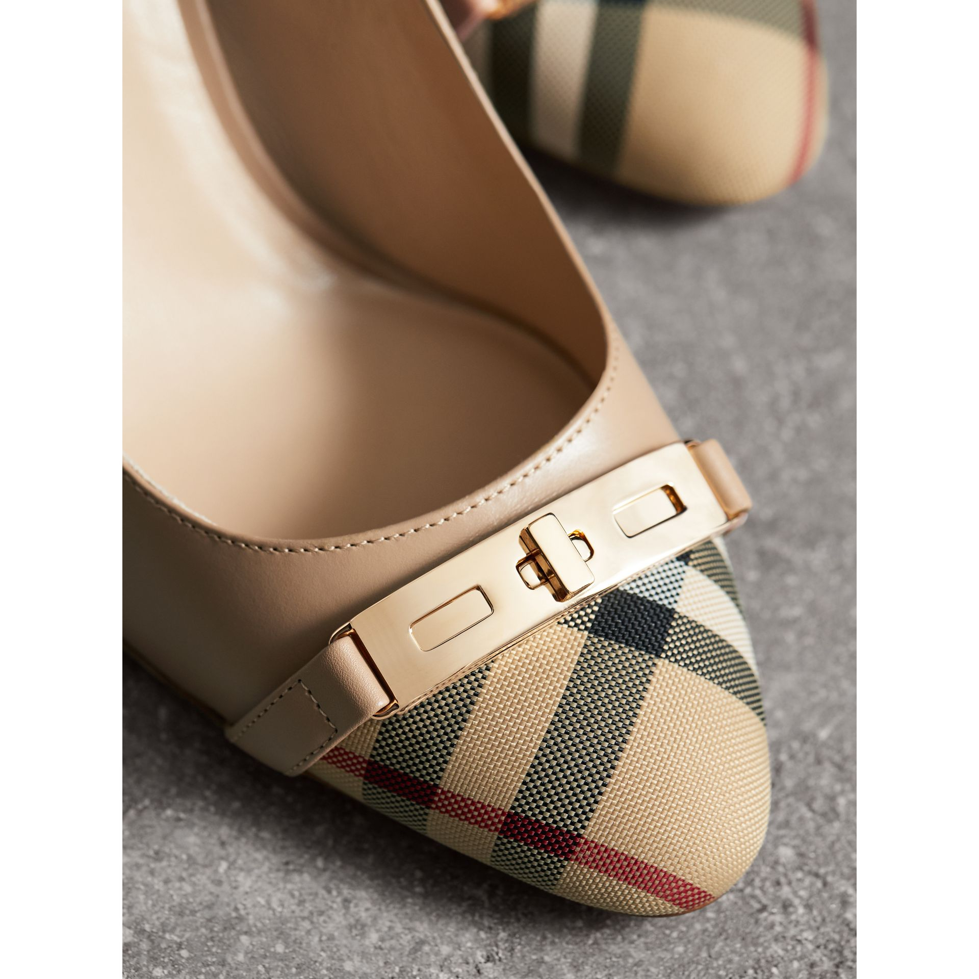 Horseferry Check Leather Pumps in Light Nude - Women | Burberry - gallery image 2