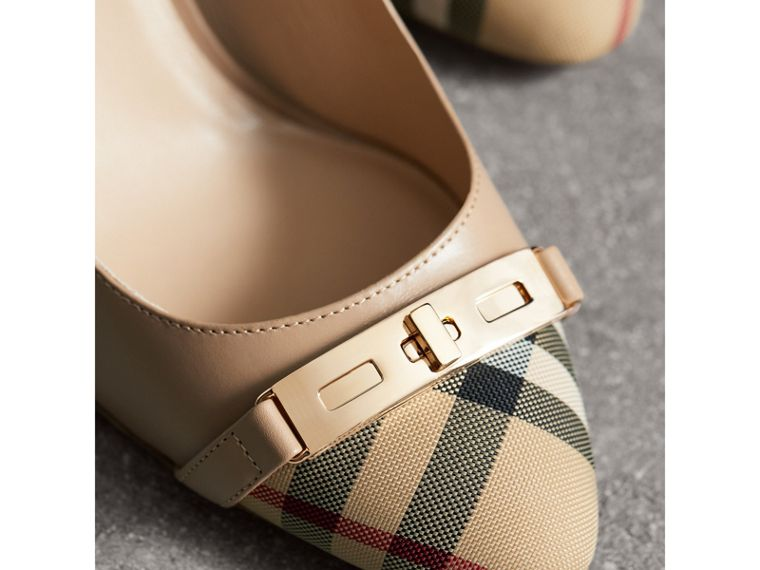 Décolleté in pelle con motivo Horseferry check (Carne Chiaro) - Donna | Burberry - cell image 1