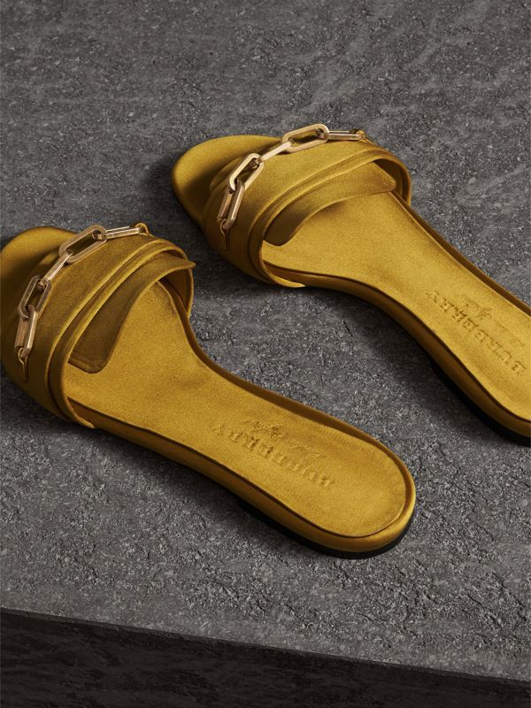 Link Detail Satin and Leather Slides in Antique Yellow - Women | Burberry - cell image 3