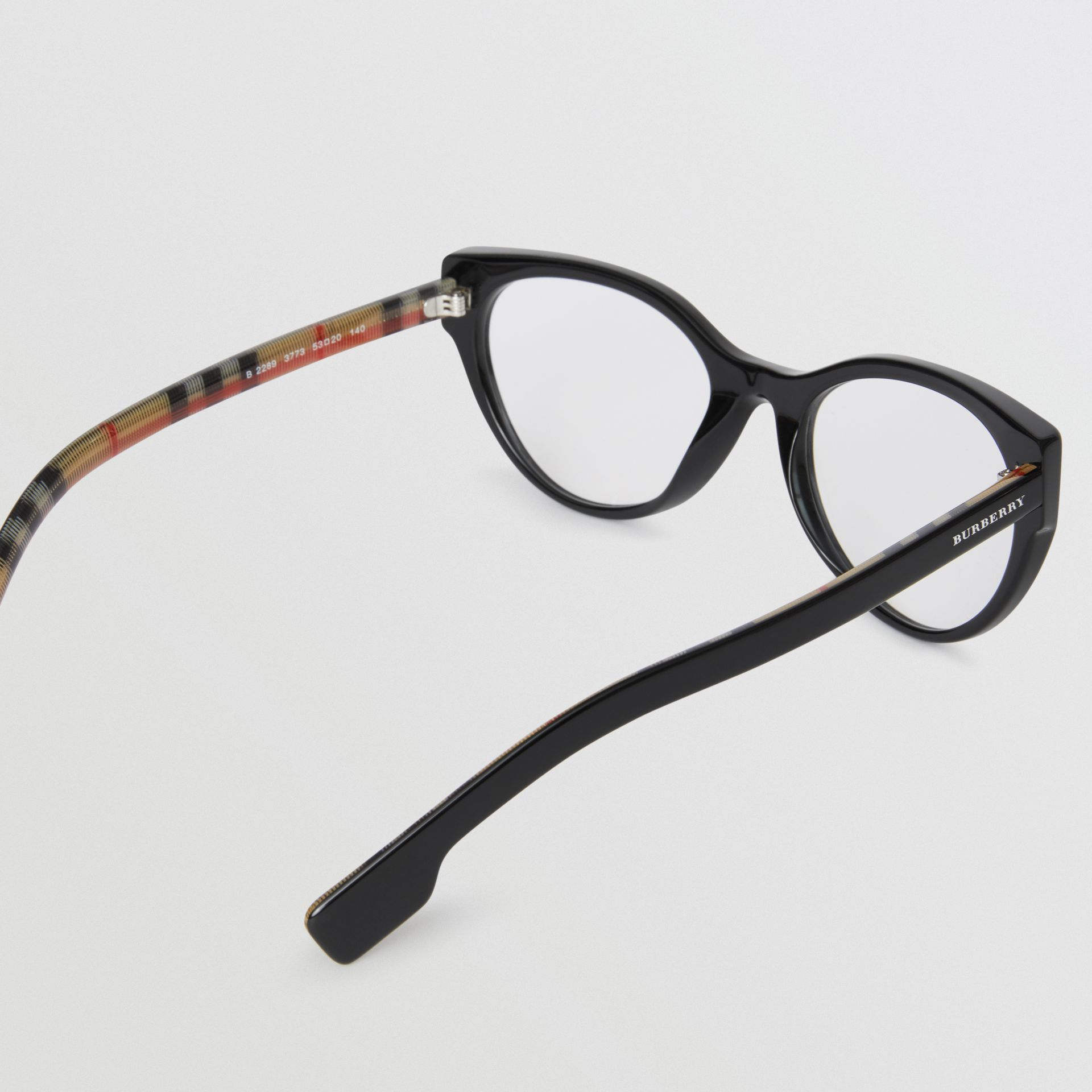 Vintage Check Detail Cat-eye Optical Frames in Black - Women | Burberry Singapore - gallery image 3