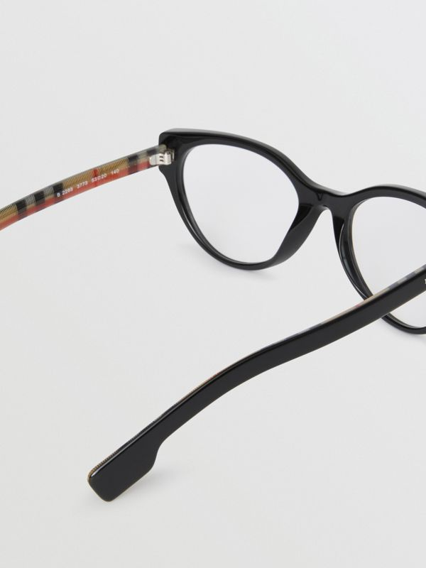 Vintage Check Detail Cat-eye Optical Frames in Black - Women | Burberry Australia - cell image 3
