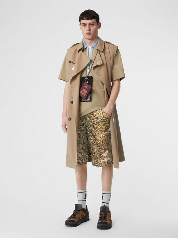Pantaloncini in nylon con motivo tigrato (Beige)