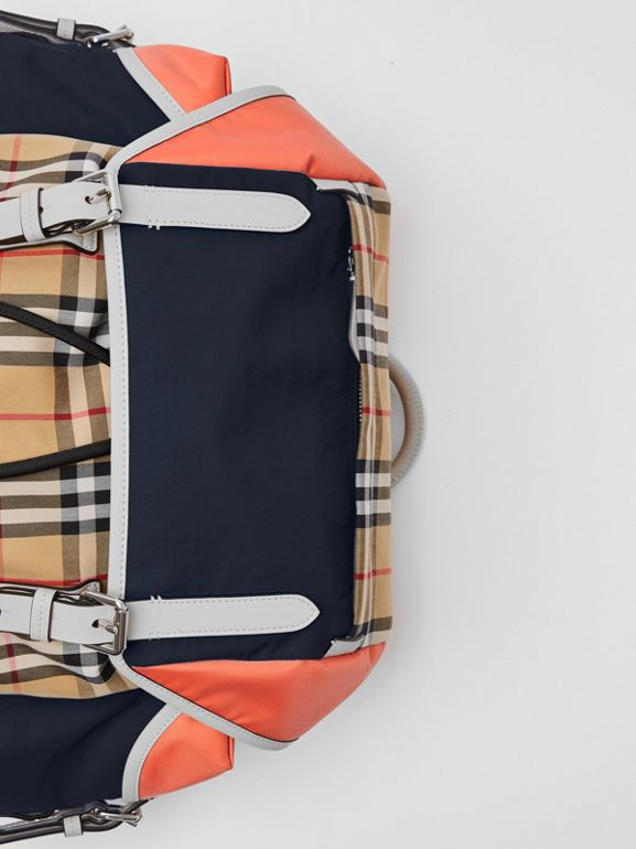 Colour Block Vintage Check and Leather Backpack in Cerulean Blue - Men | Burberry - cell image 1