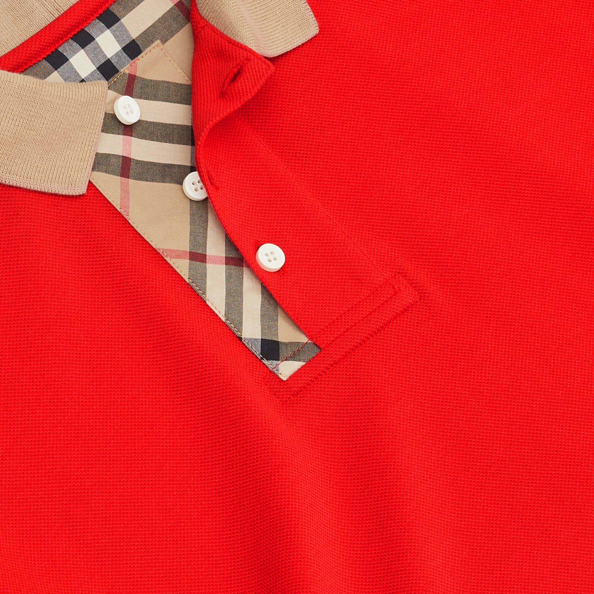 Vintage Check Trim Cotton Polo Shirt in Bright Red | Burberry - gallery image 1