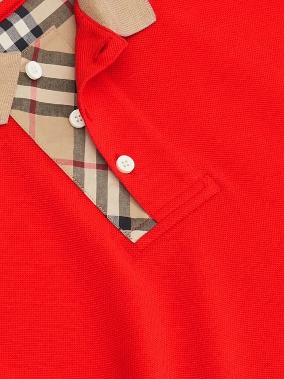 Vintage Check Trim Cotton Polo Shirt in Bright Red | Burberry - cell image 1