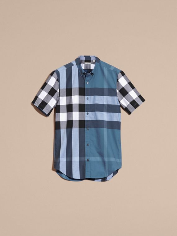 Lupin blue Short-sleeved Check Cotton Shirt Lupin Blue - cell image 2