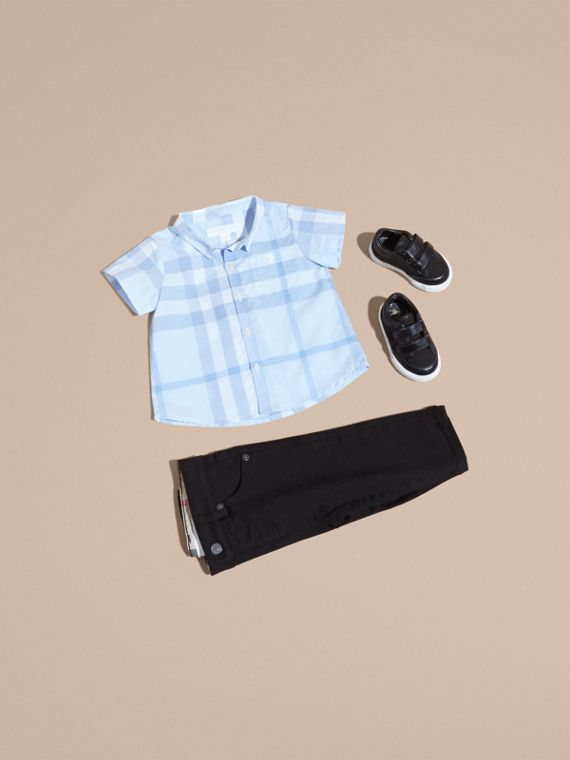 Short-sleeve Check Cotton Shirt