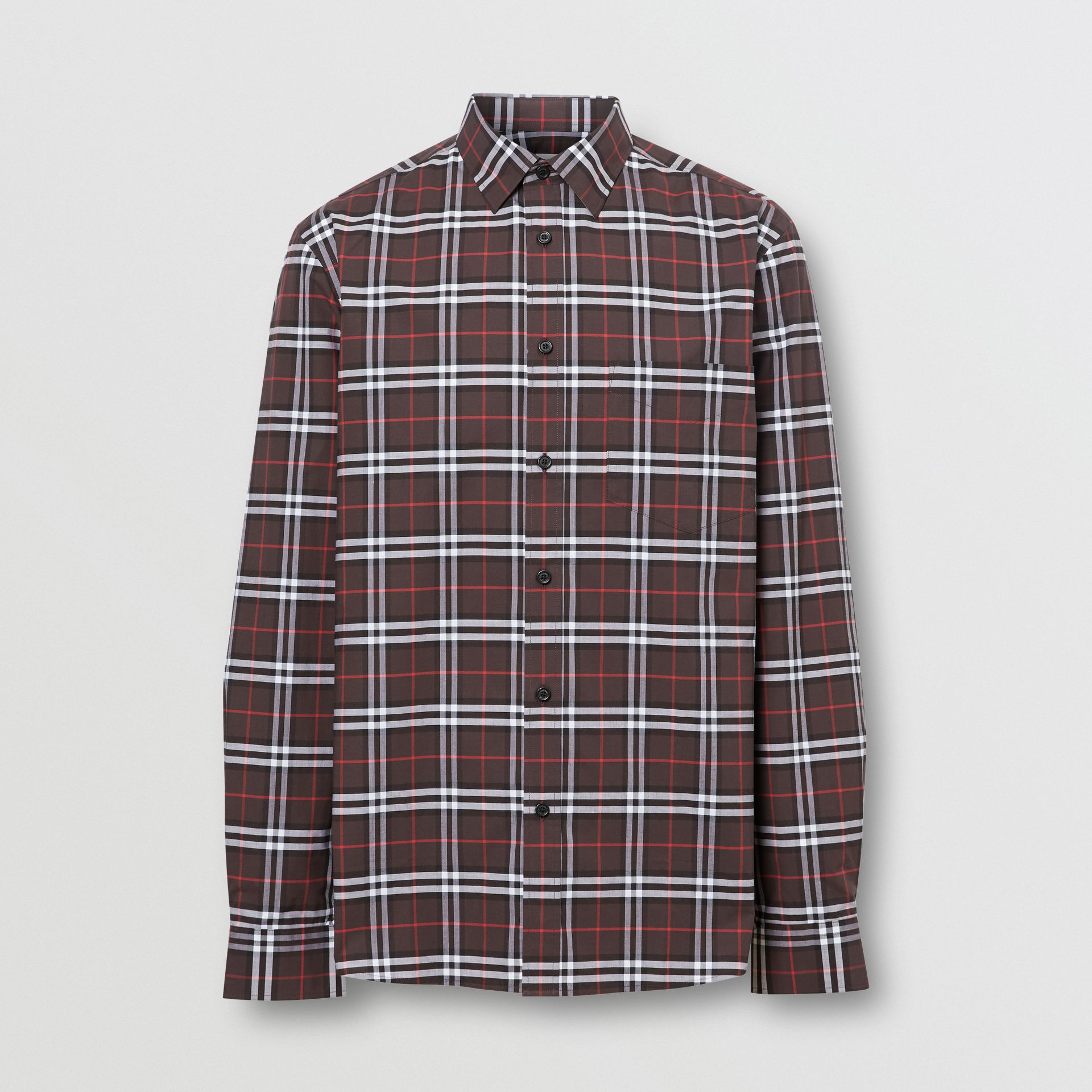 Small Scale Check Stretch Cotton Shirt in Bark - Men | Burberry - gallery image 3