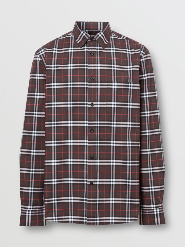 Small Scale Check Stretch Cotton Shirt in Bark - Men | Burberry - cell image 3