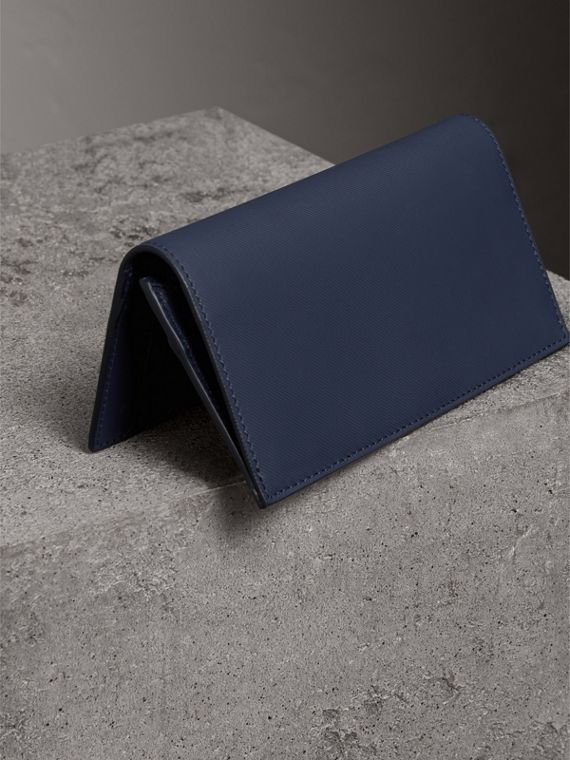 Trench Leather Continental Wallet in Ink Blue - Men | Burberry - cell image 2