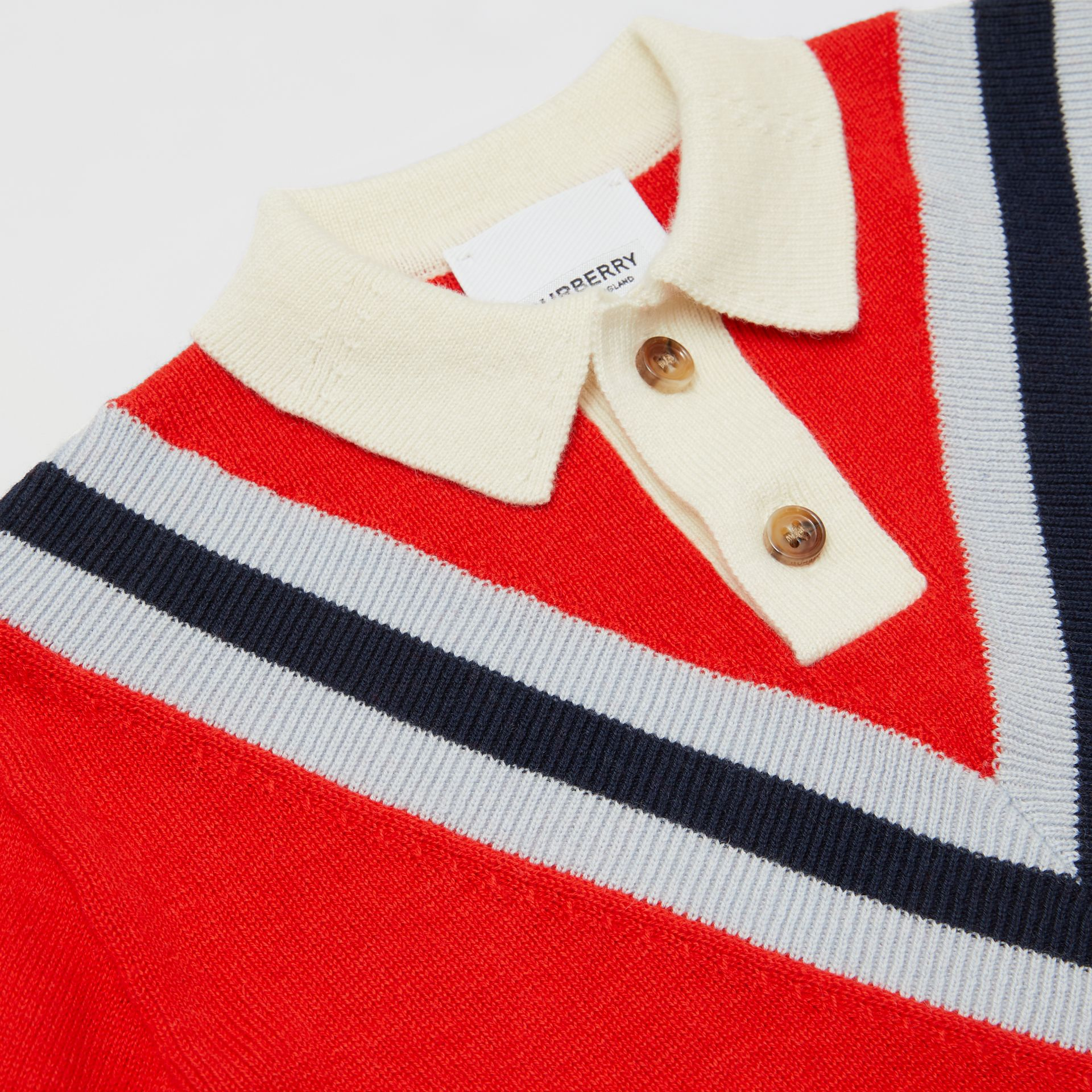 Long-sleeve Knit Cashmere Cotton Polo Shirt in Bright Red - Children | Burberry United Kingdom - gallery image 1