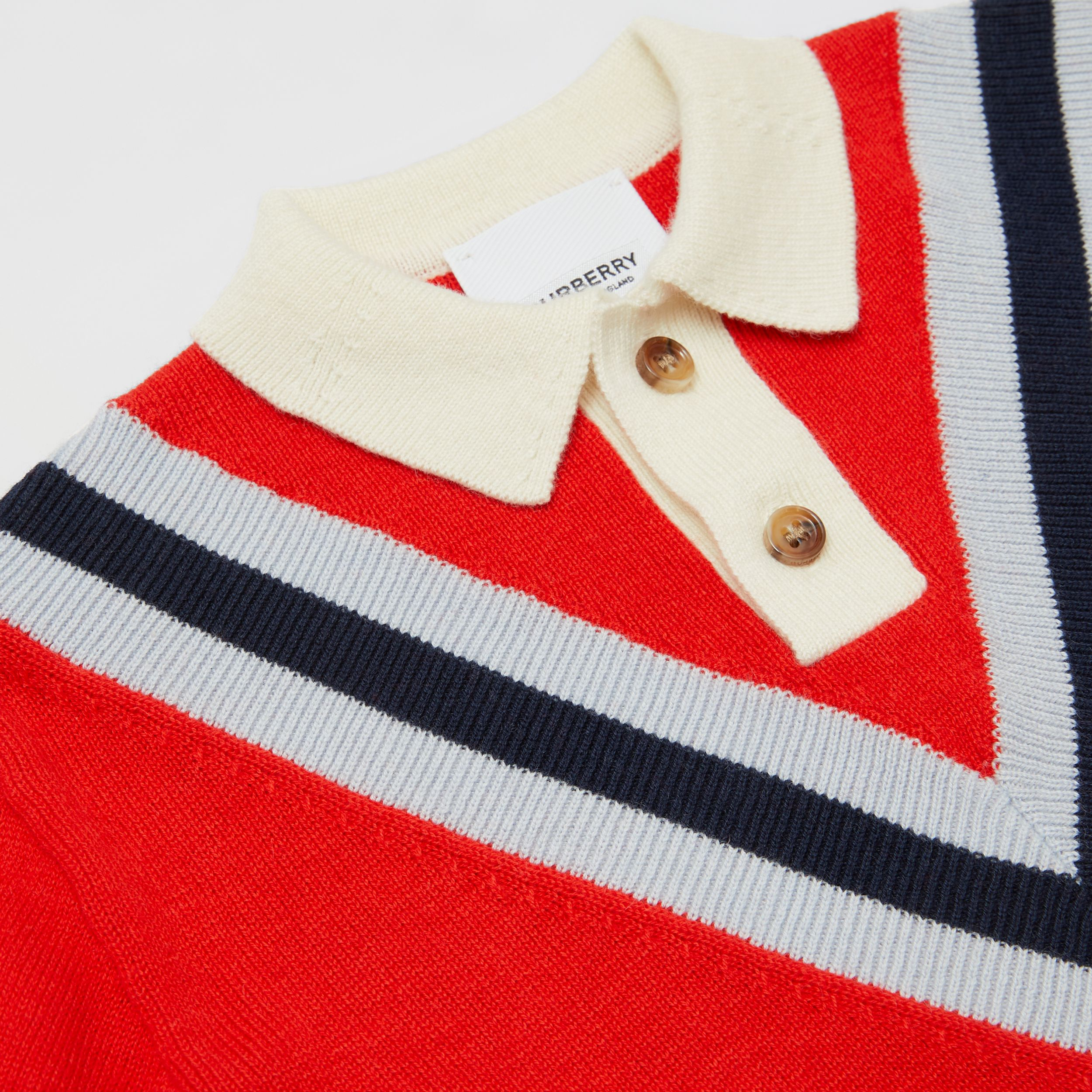 Long-sleeve Knit Cashmere Cotton Polo Shirt in Bright Red - Children | Burberry - 2