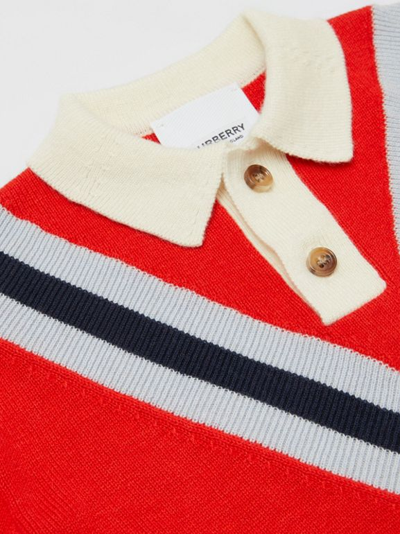 Long-sleeve Knit Cashmere Cotton Polo Shirt in Bright Red - Children | Burberry United Kingdom - cell image 1