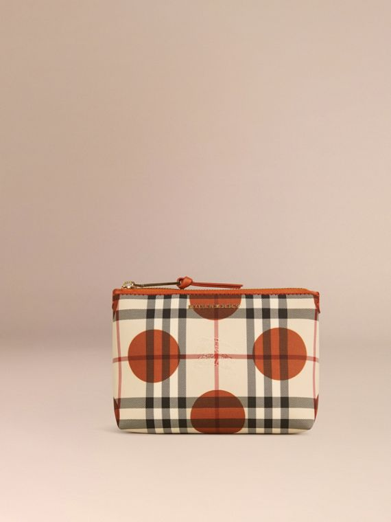 Orange brûlé Pochette medium à motif check et pois bordée de cuir Orange Brûlé - cell image 2