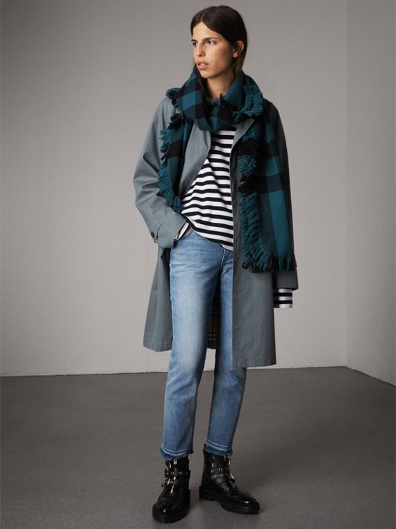 Fringed Check Wool Scarf in Steel Blue | Burberry Canada - cell image 2