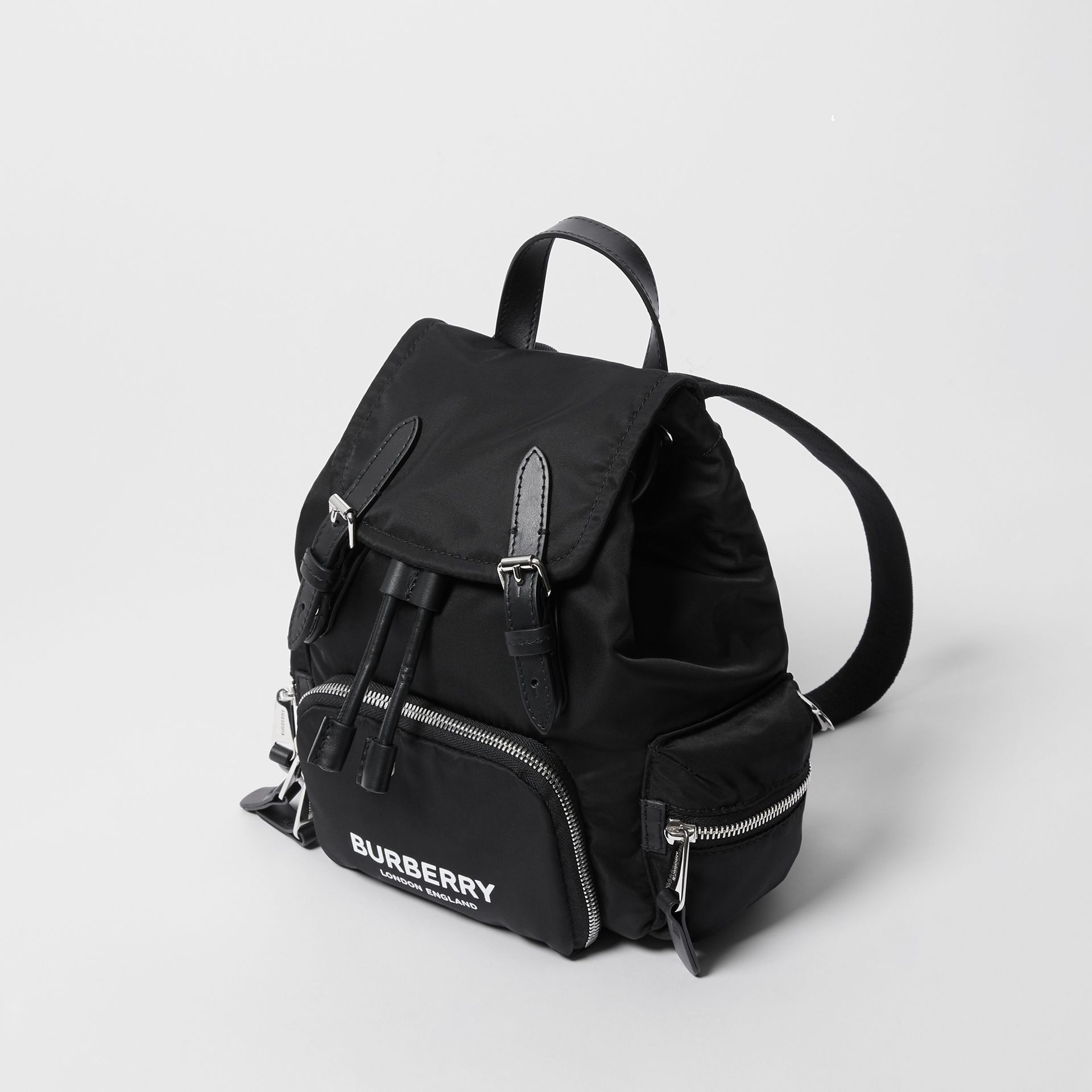 The Small Rucksack in Logo Print ECONYL® in Black - Women | Burberry United Kingdom - gallery image 3
