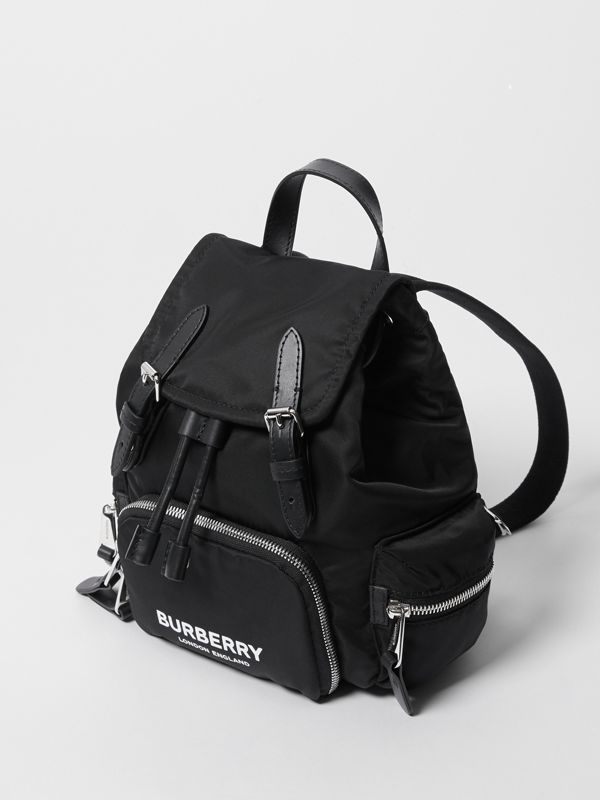 The Small Rucksack in Logo Print ECONYL® in Black - Women | Burberry Canada - cell image 3