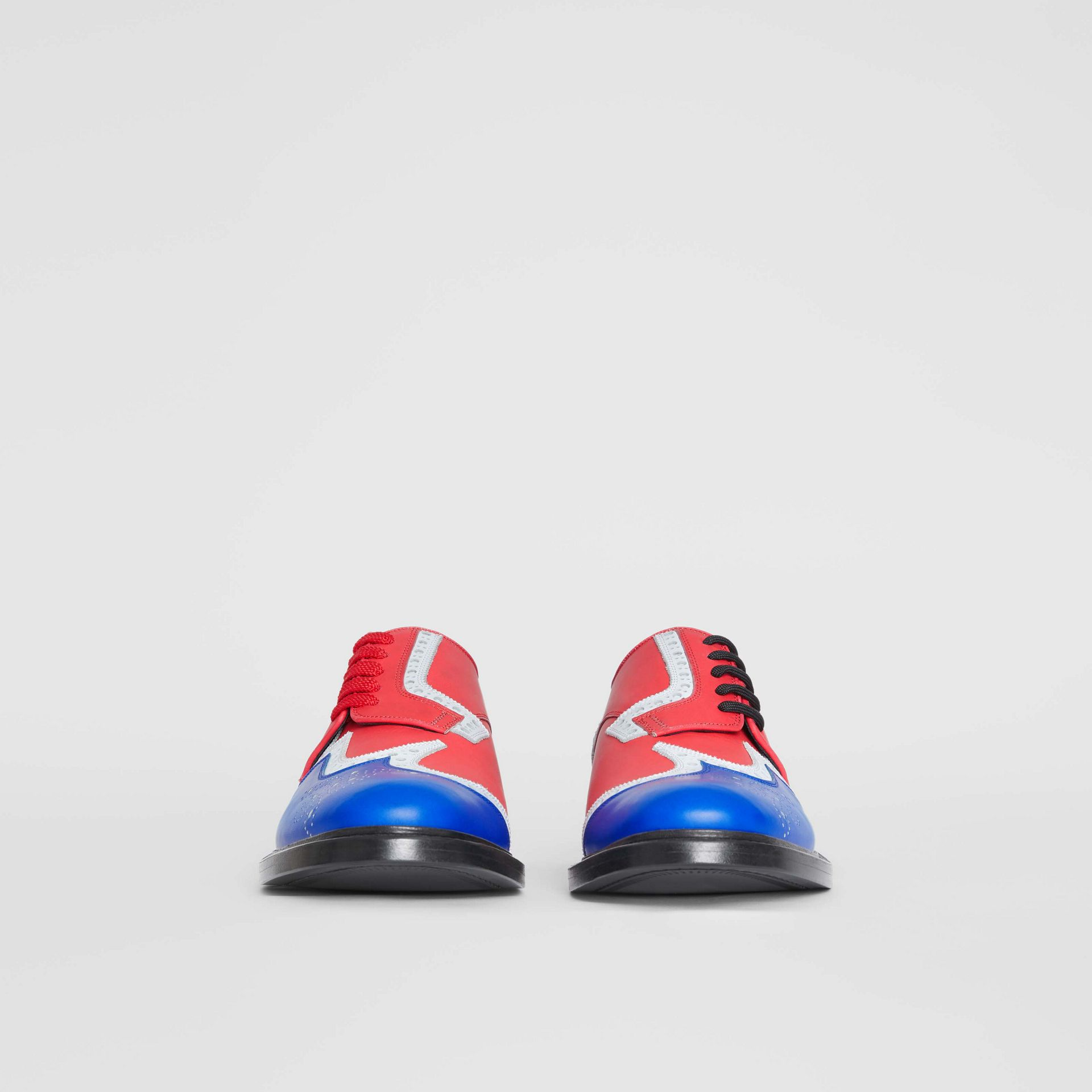 Asymmetric Closure Tri-tone Leather Brogues in Blue/red - Men | Burberry United Kingdom - gallery image 3