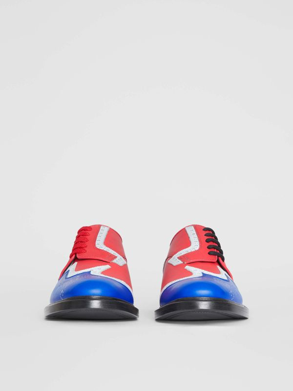 Asymmetric Closure Tri-tone Leather Brogues in Blue/red - Men | Burberry - cell image 3