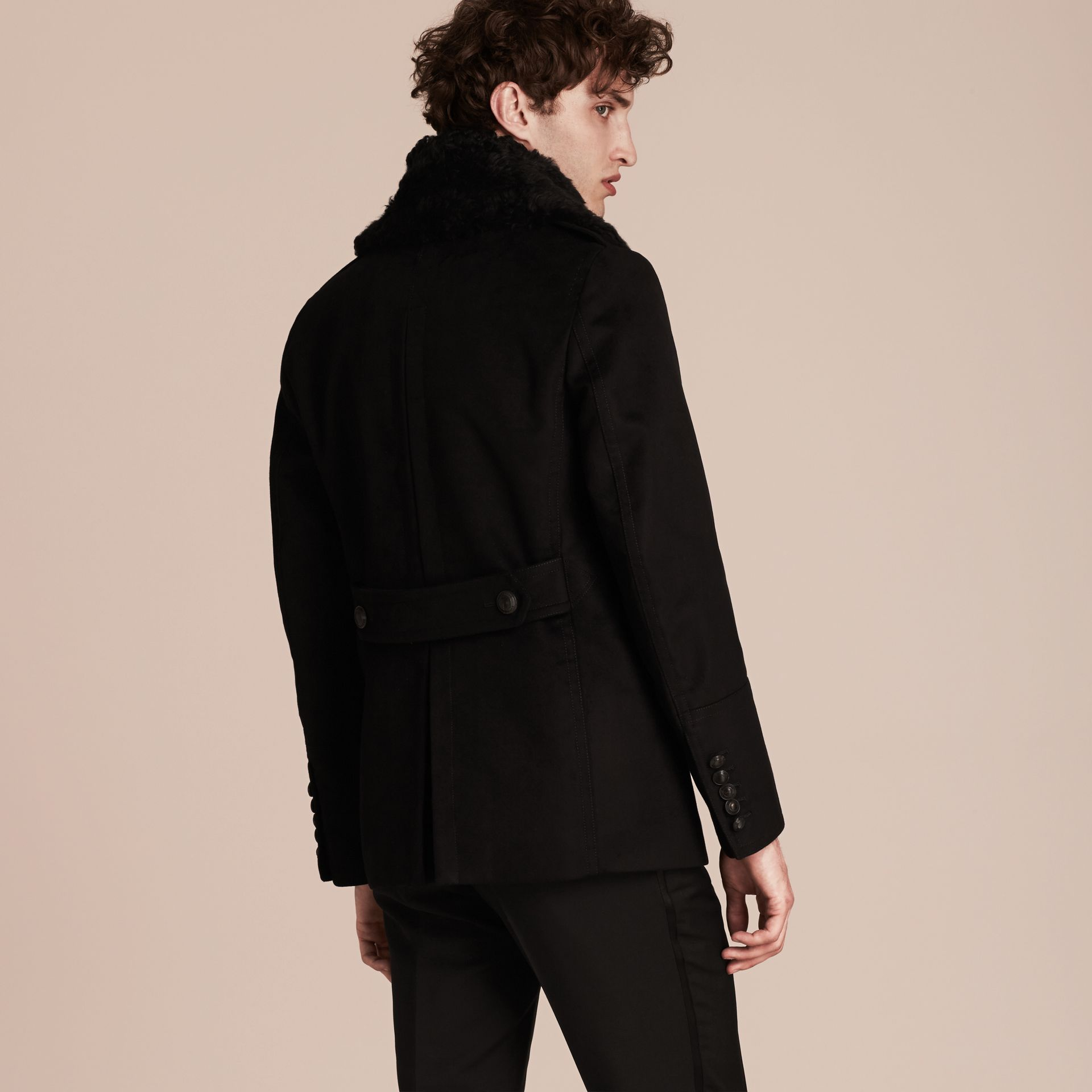 Black Technical-cotton Moleskin Pea Coat with Shearling Collar - gallery image 2
