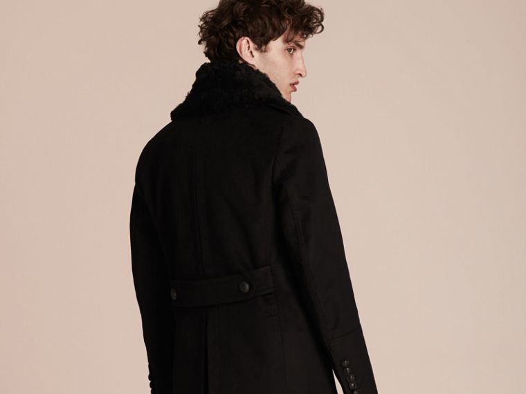 Black Technical-cotton Moleskin Pea Coat with Shearling Collar - cell image 1