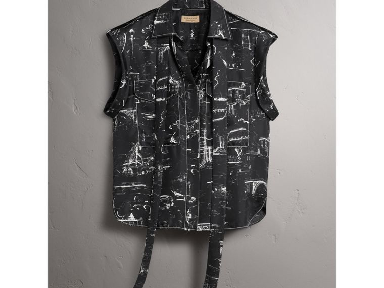 Landmark Print Sleeveless Silk Shirt in Black - Women | Burberry - cell image 4